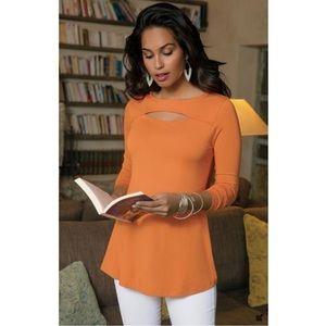Soft Surroundings Orange Long Sleeve Top Blouse L